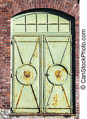 detail of old industrial brick building