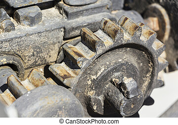 detail of old rusty gears, transmission wheels.