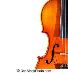 Detail of old violin on a white background
