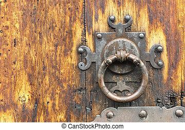 detail of old wooden door