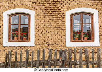 Detail of old wooden windows with flowers