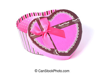 Detail of open empty pink romantic heart-shaped gift box with ribbon isolated on a white background
