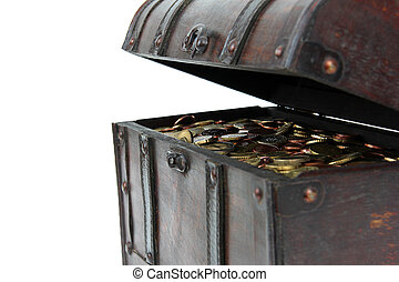 detail of opened treasure chest