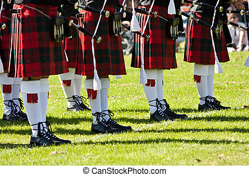 Scottish kilts - Detail of original Scottish kilts, during...