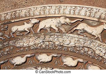 Detail of ornaments with animals on moonstone, Anuradhapura, Sri Lanka