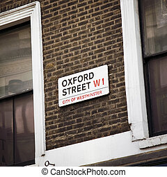 oxford street - detail of oxford street's sign in london