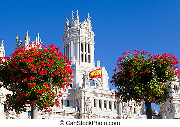 Detail of Palacio de Comunicaciones at Plaza de Cibeles in Madrid, Spain