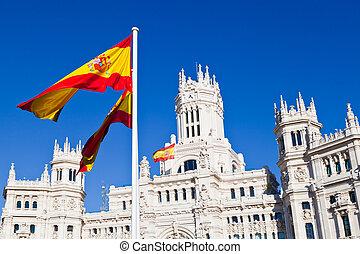 Detail of Palacio de Comunicaciones at Plaza de Cibeles in Madrid, Spain