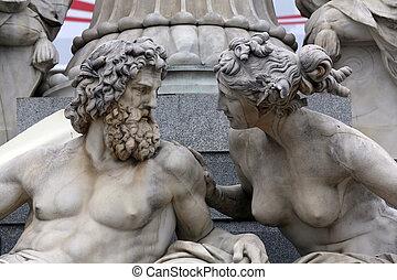 Detail of Pallas-Athene fountain in front of Austrian parliament in Vienna