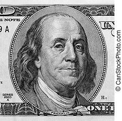 Detail of Portrait on One Hundred Dollar Bill - Detail of...
