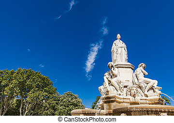 Pradier fountain at Esplanade Charles-de-Gaulle in Nimes,...