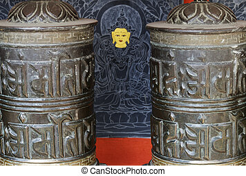detail of prayer wheels in nepal