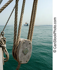 Detail of pulley and hoist of a schooner - Close-up of...