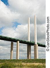 Detail of Queen Elisabeth II bridge in Dartford, against sky with clouds