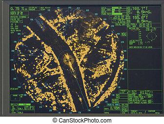 detail of radar screen on board a ship