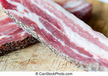 Detail of raw bacon