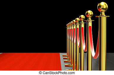 detail of red carpet - detail of golden barrier with red ...