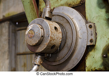 Detail of retro lathe machine