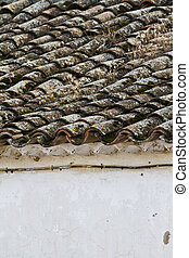 detail of roof clay tiles