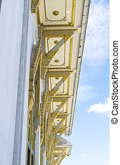 Detail of roof temple' construction with clear sky background at Wat Sothorn, Chachoengsao Thailand