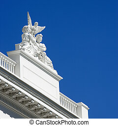 Detail of Sacramento capitol - Low angle of statuary on the...