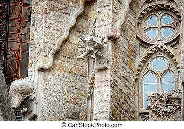 Detail of Sagrada Familia church in Barcelona, Spain.