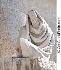 detail of sagrada familia sculpture, barcelona
