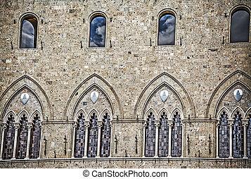 detail of Salimbeni Palace in Siena