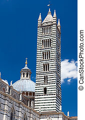 Detail of Siena cathedral in a sunny summer day, Tuscany,...