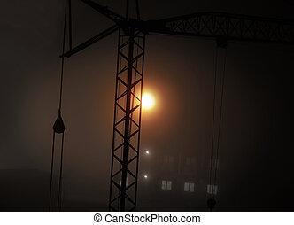 silhouette of crane