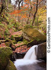 Detail of small waterfall in Burbage Brook Padley Gorge Peak District