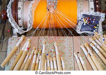Detail of spanish bobbin lace