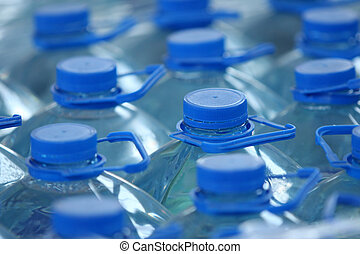 detail of stack bottled water in industry