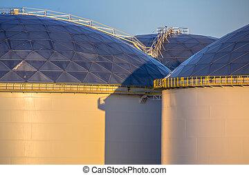 Detail of stairs on big oil storage tanks