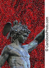 detail of statue of Perseus holding the head of Medusa on white background, Florence, Italy bronze statue of Perseus holding the head of Medusa, Florence, Italy