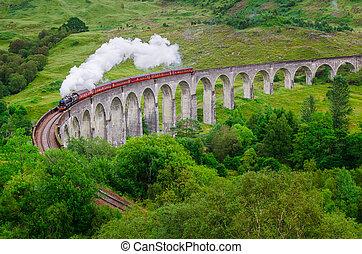 Detail of steam train on famous Glenfinnan viaduct, Scotland, United Kingdom