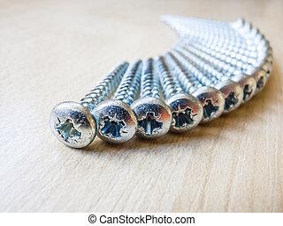 Detail of steel screws