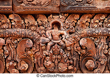 Detail of stone carvings at Banteay Srei