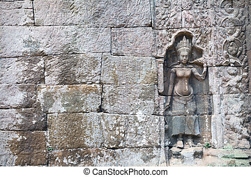 detail of stone carvings in angkor wat,cambodia