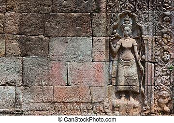 detail of stone carvings in angkor wat,cambodia