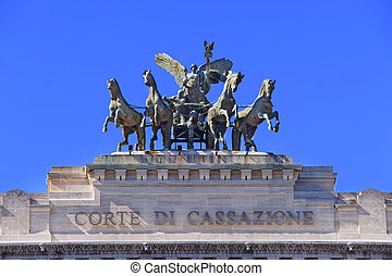 Detail of Supreme Court of Cassation in Rome in Italy