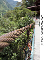 Detail of suspended bridge at the Pailon del Diablo, Ecuador