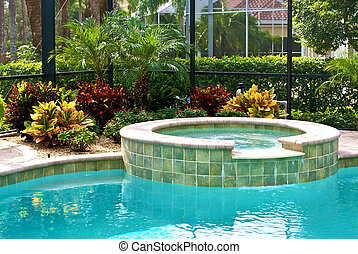 detail of swimming pool surrounded by plants and screened in lanai.