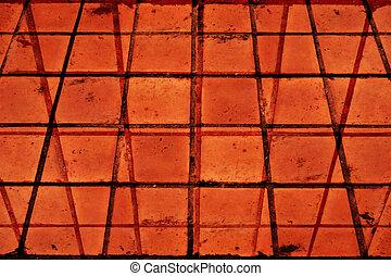 detail of terra cotta tile floor