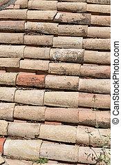Detail of terracotta roof tiles