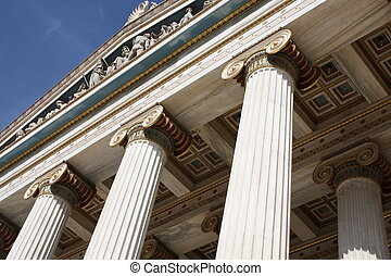 Detail of the Academy of Athens, Greece - Close up of...