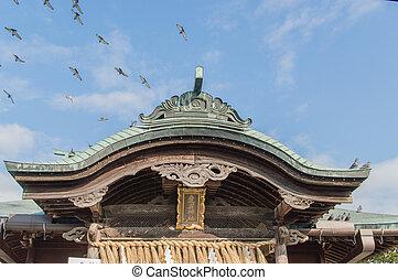 Atago Shrine - Detail of the Atago Shrine Roof with birds...