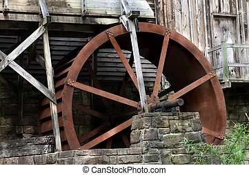 Glade Creek Grist Mill - Detail of the beautiful historic...
