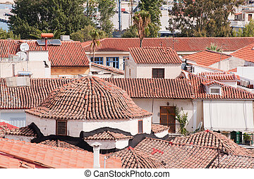 Detail of the city Nafplion with houses and roofs