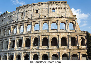 Detail of the Colosseum in Rome, Italy